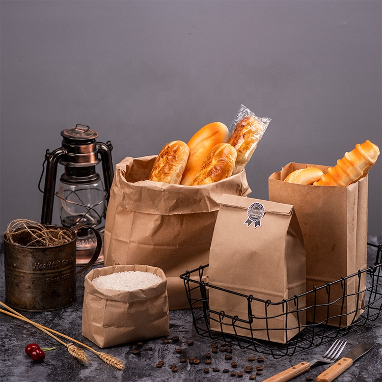 High quality eco brown paper bag handle kraft paper bag food recyclable