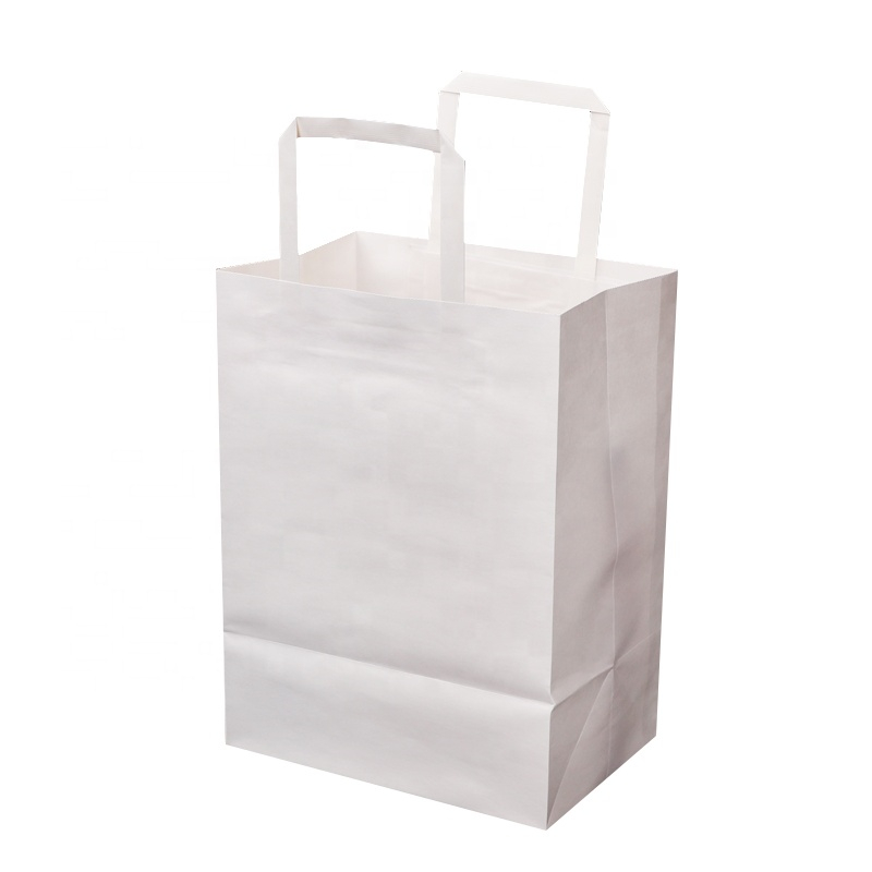 Biodegradable brown kraft craft paper bag for fashion clothes shop  with flat handle.