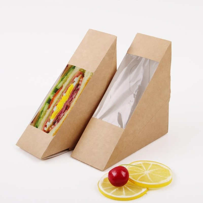 Window Kraft Paper Burger Triangle Sandwich Boxes Lunch Takeaway Food Container